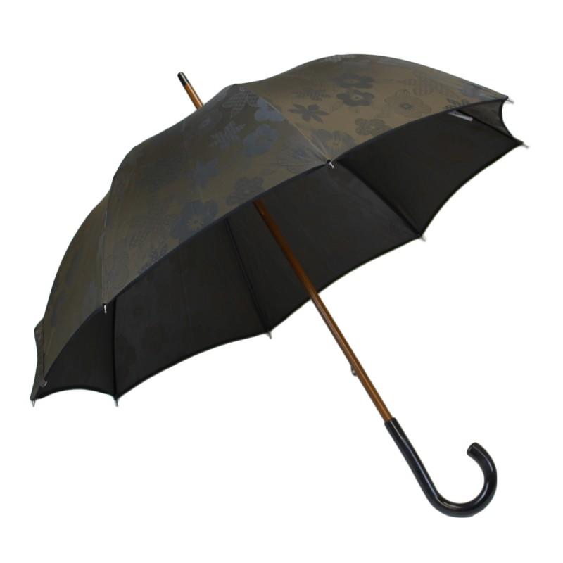 Parapluie médium marron tissé de fleurs