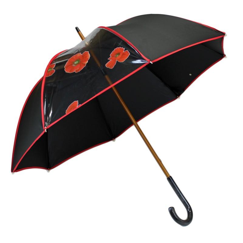 Parapluie long élégant noir et fenêtre transparente coquelicots