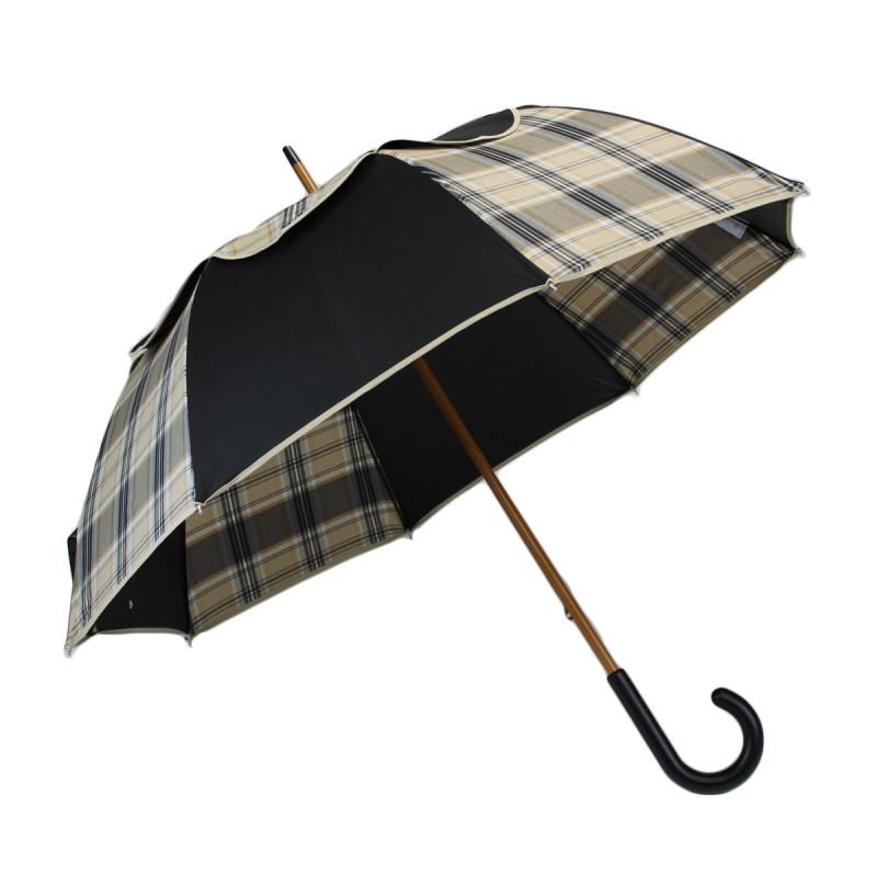 Umbrella Passvent black and beige tartan