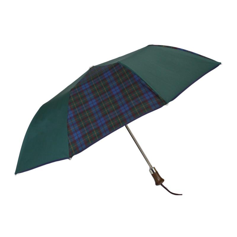 Folding umbrella green and burgundy tartan