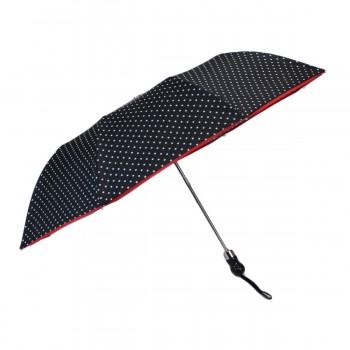 Parapluie pliant noir à pois