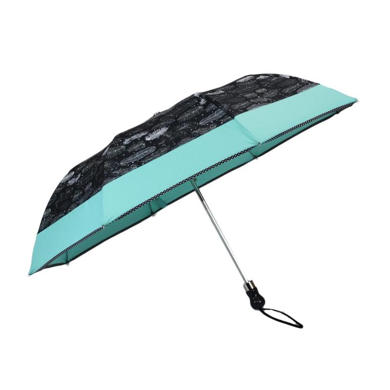 Folding umbrella with feathers