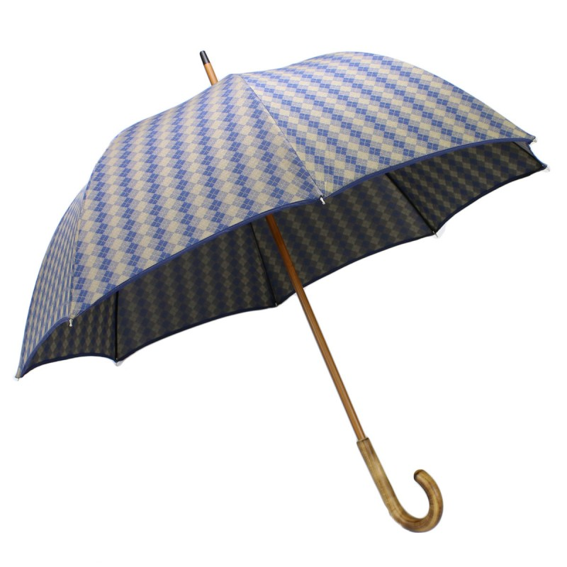 Long umbrella woven with blue and beige rhombuses