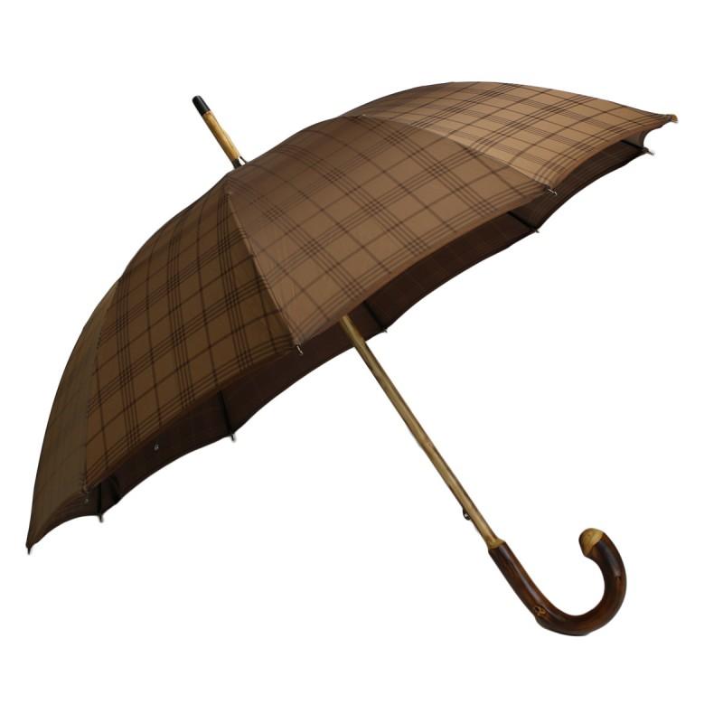 Parapluie anglais courbe jacquard tartan marron