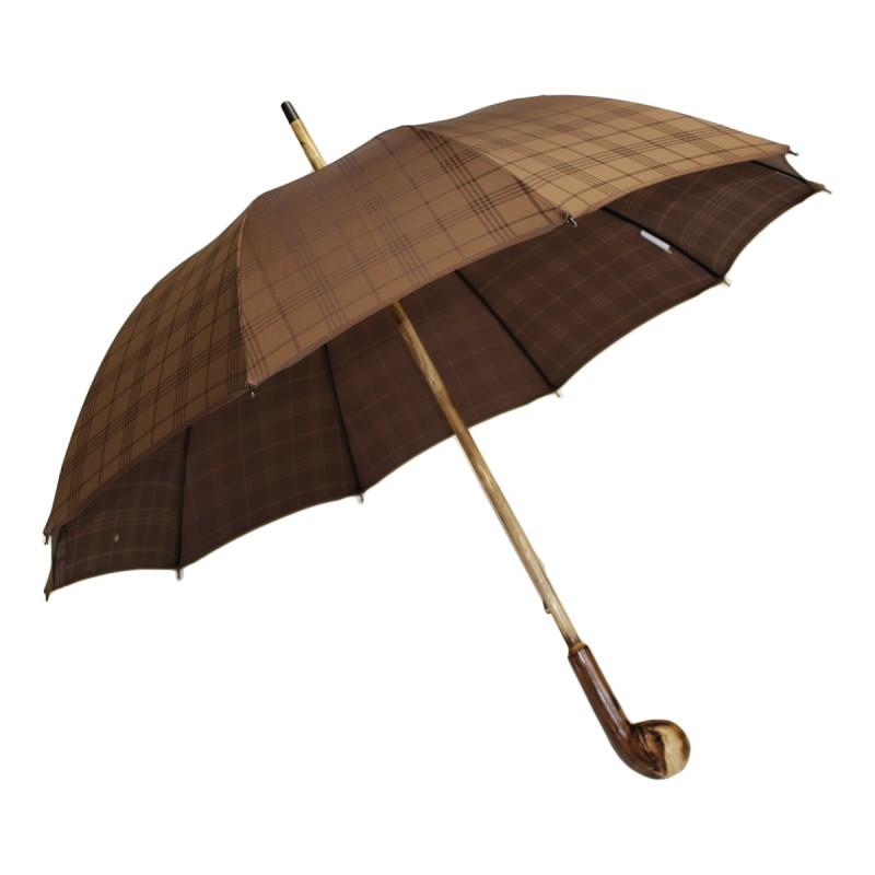 Parapluie anglais racine jacquard tartan marron