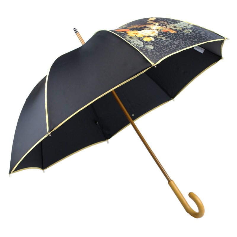 Parapluie long élégant noir et jaune tissé de fleurs