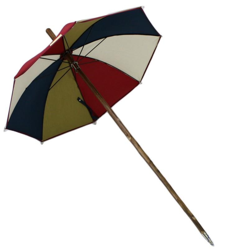Mehrfarbiger, bordeauxgrüner, beigefarbener, enteblauer Regenschirm