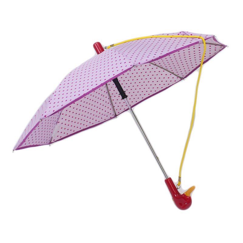 Children's pink umbrella with polka dots