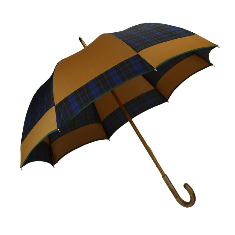 Camel and tartan mill half golf umbrella
