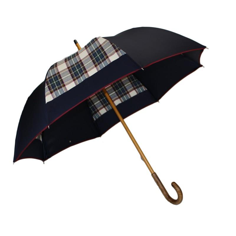 Half golf umbrella mill blue tartan beige