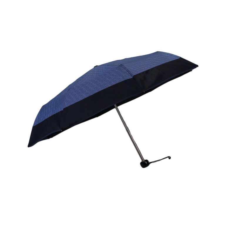 Mini umbrella with small blue check and navy blue band