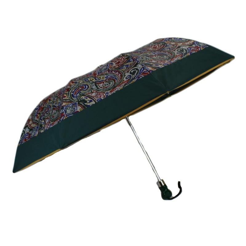 Parapluie pliant à motif cachemire et bande verte