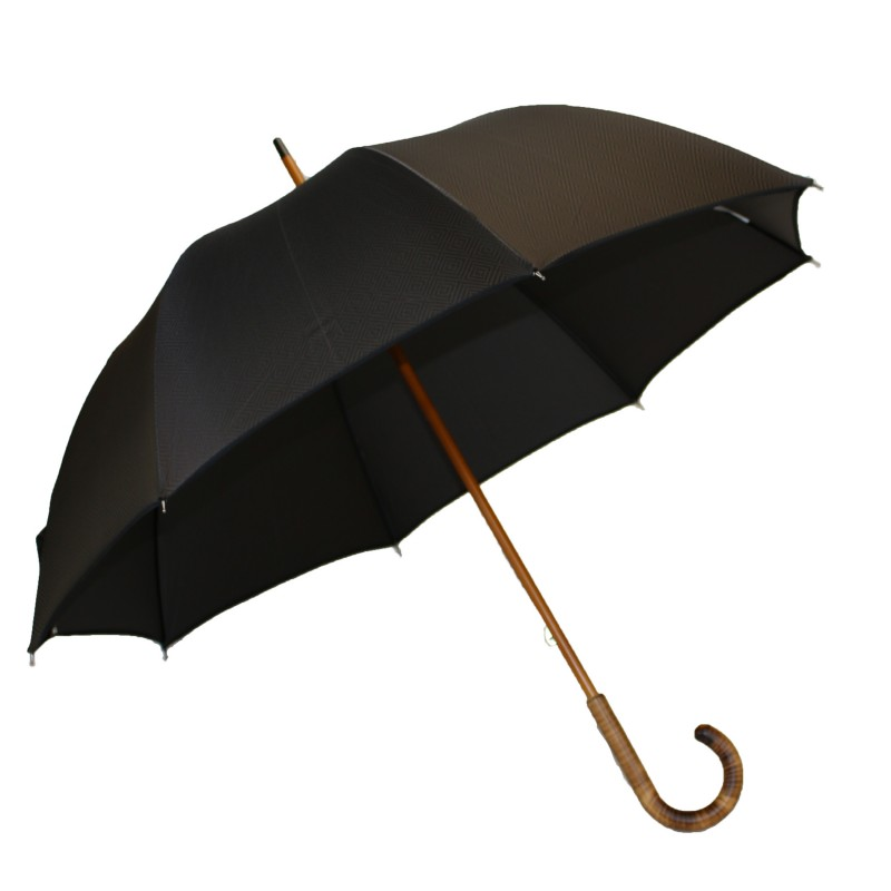 Parapluie long jacquard marron