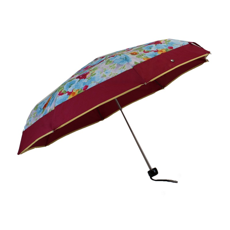 Mini umbrella with pink flower pattern and pink band