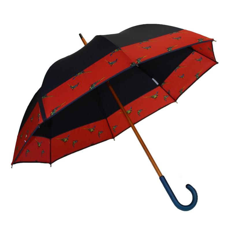 Long umbrella navy blue pheasant red stripe