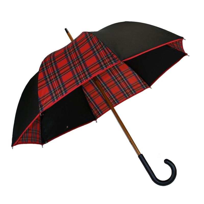 Parapluie médium noir et écossais rouge