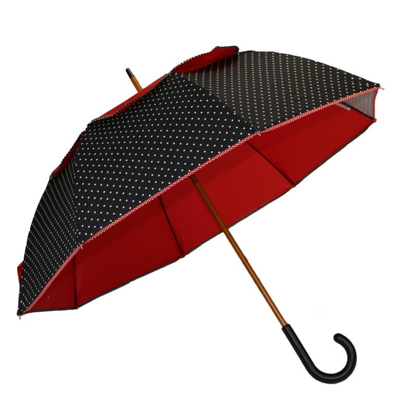 Umbrella Passvent long aims versa red and black polka dots