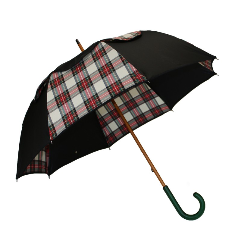 Parapluie Passvent  long noir et écossais beige et rouge