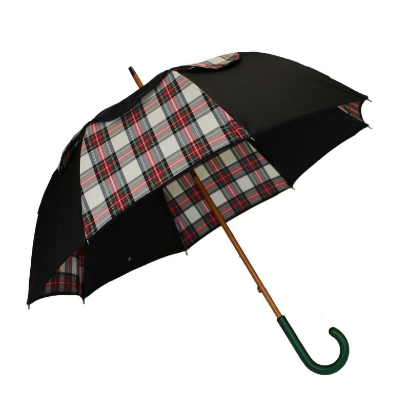 Regenschirm Passvent lang schwarz-beige Schottische Tartan Seite
