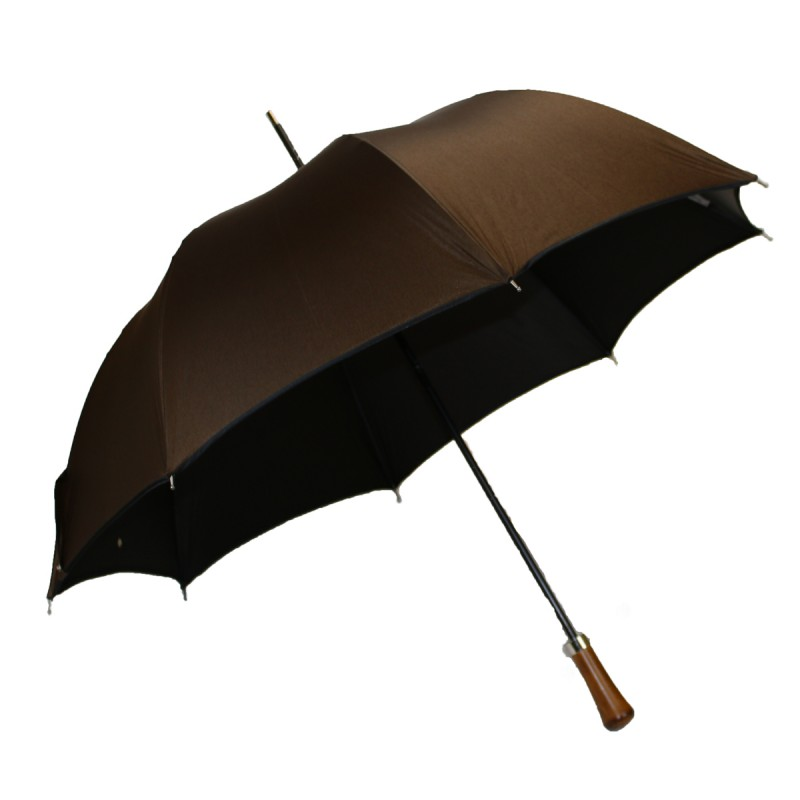 Satin brown automatic long umbrella