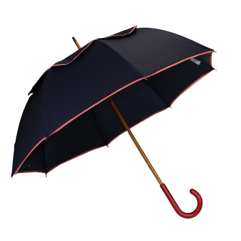 Passvent umbrella navy blue bias red polka dots long