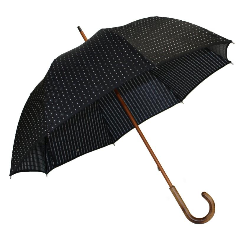 Geometric black jacquard long umbrella