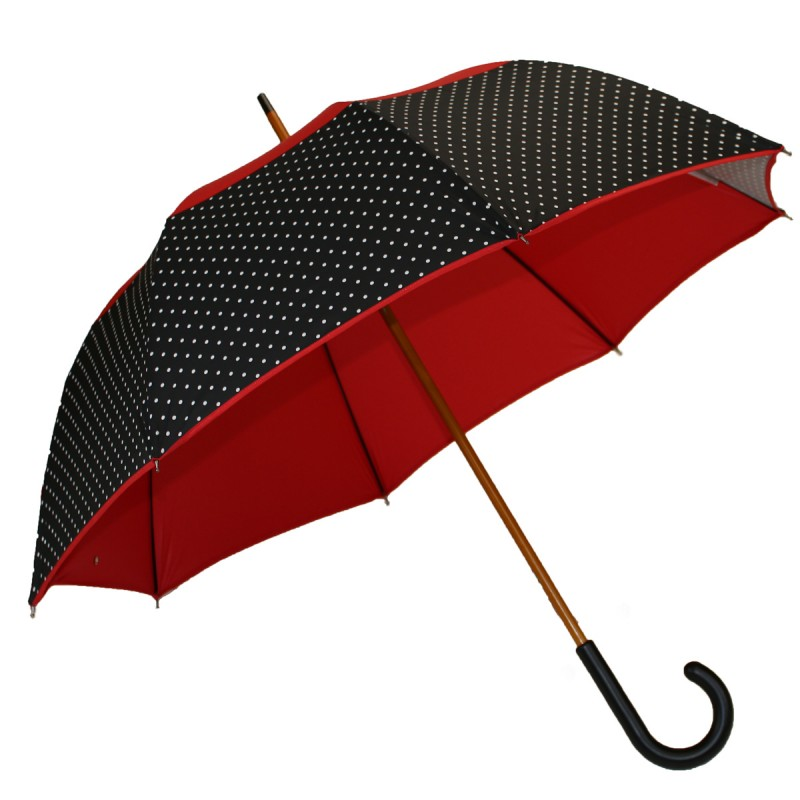 Umbrella long aims versa red and black polka dots