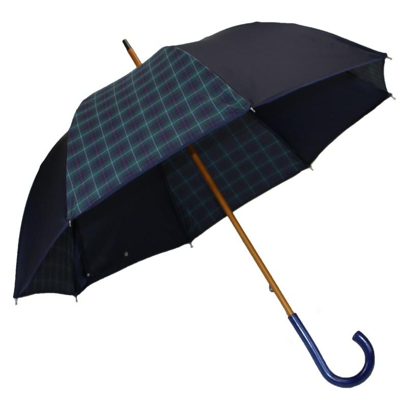 Medium umbrella navy blue and tartan green