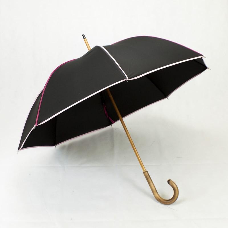 Parapluie long élégant noir et rose