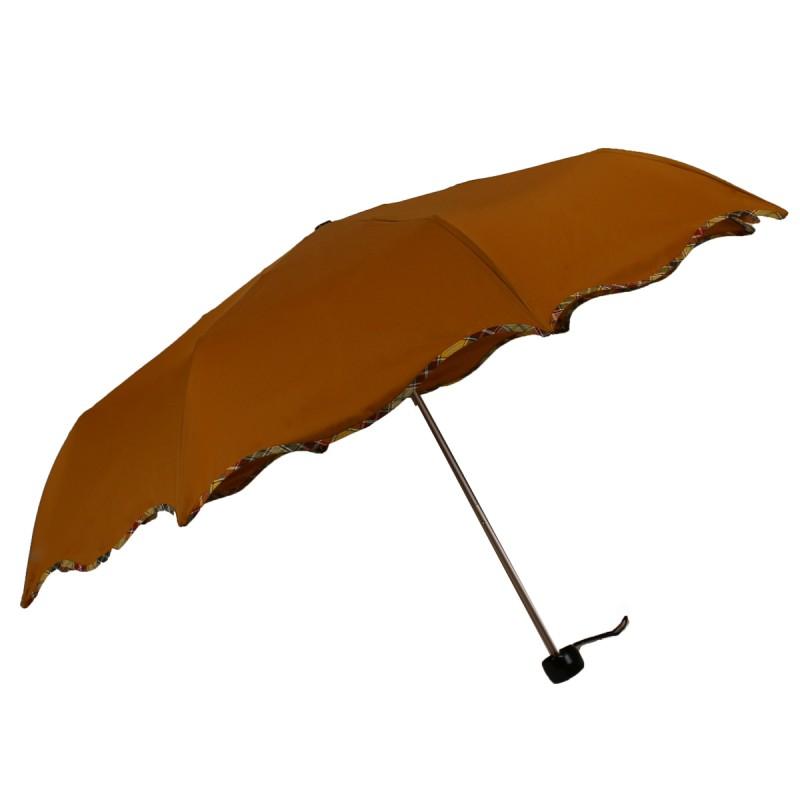 Umbrella mini wave rust tartan bias