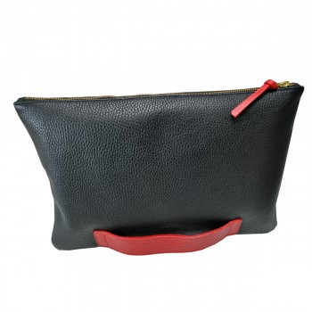 Large black and orange clutch
