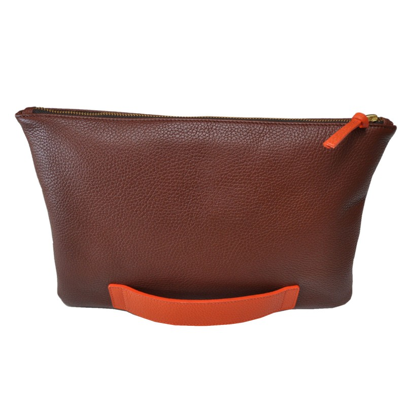 Large brown and orange clutch bag