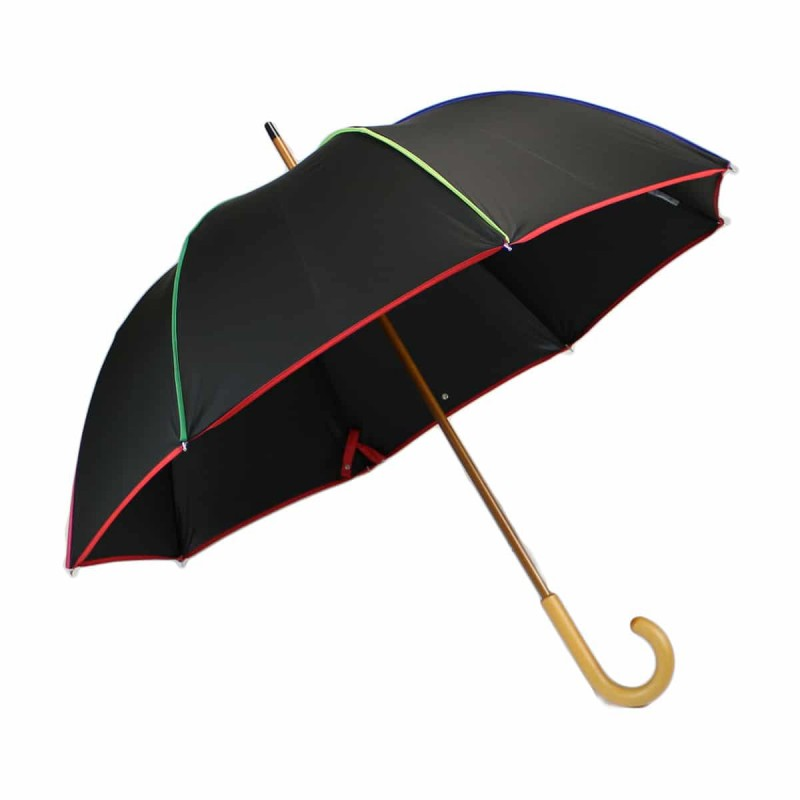 Elegant black and multicoloured long umbrella