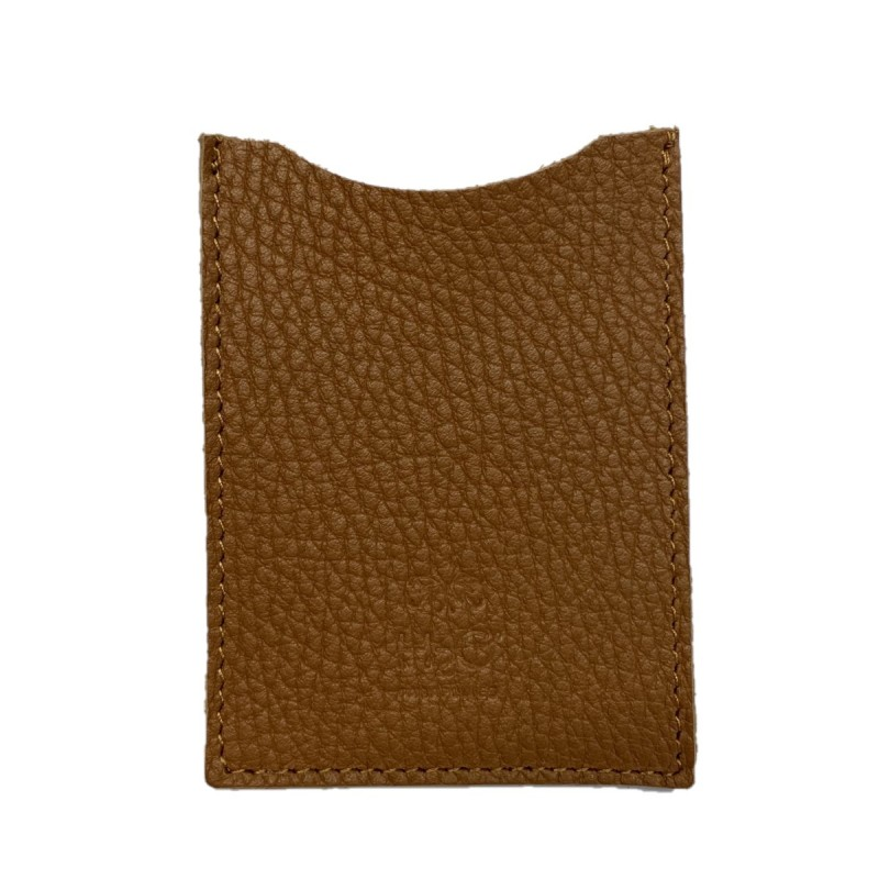 Brown leather single card holder