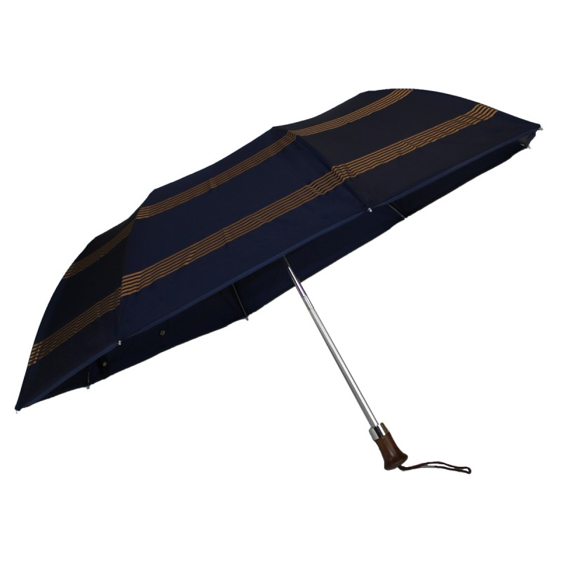 Blue folding umbrella with small golden stripes