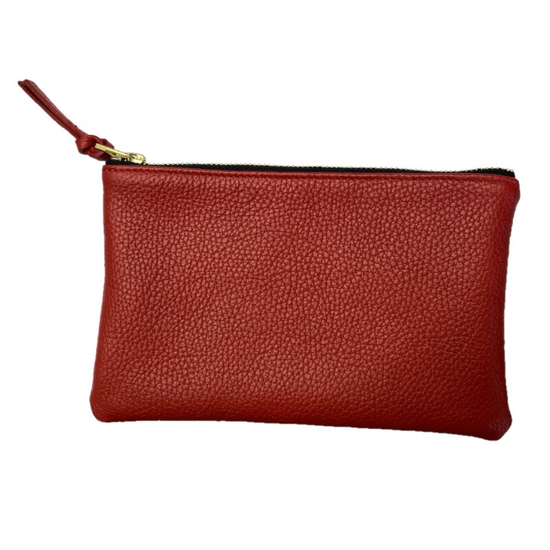Small red leather pouch