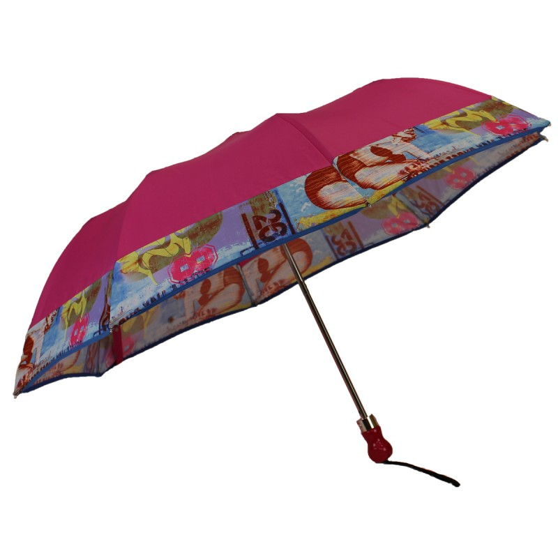 Pink folding umbrella with pin-up band