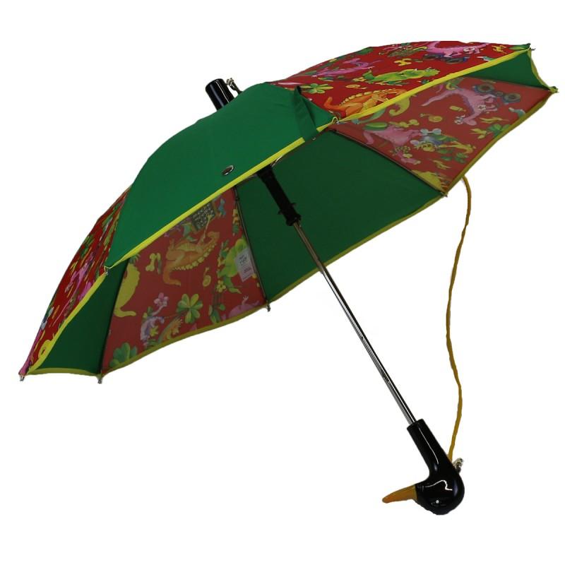 Green child and dinosaur umbrella