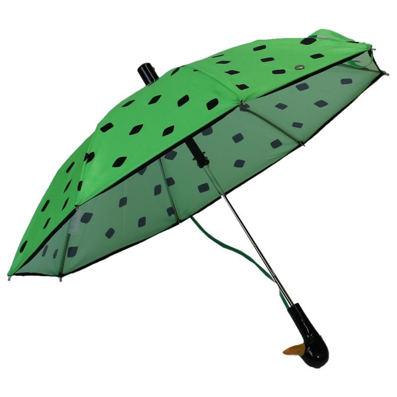 Fluorescent green child umbrella with black cube pattern
