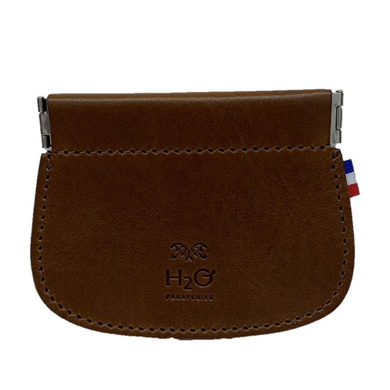 Brown leather clic clac wallet