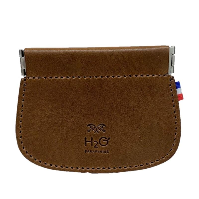 Cognac leather clic clac wallet