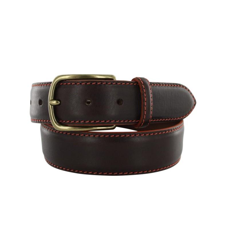 Prestige brown belt with cognac lining