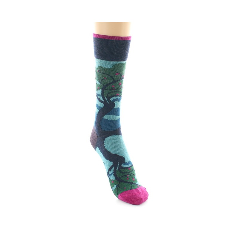 Berthe Aux Grands Pieds hohe Socke mit Baumreflexionsmuster