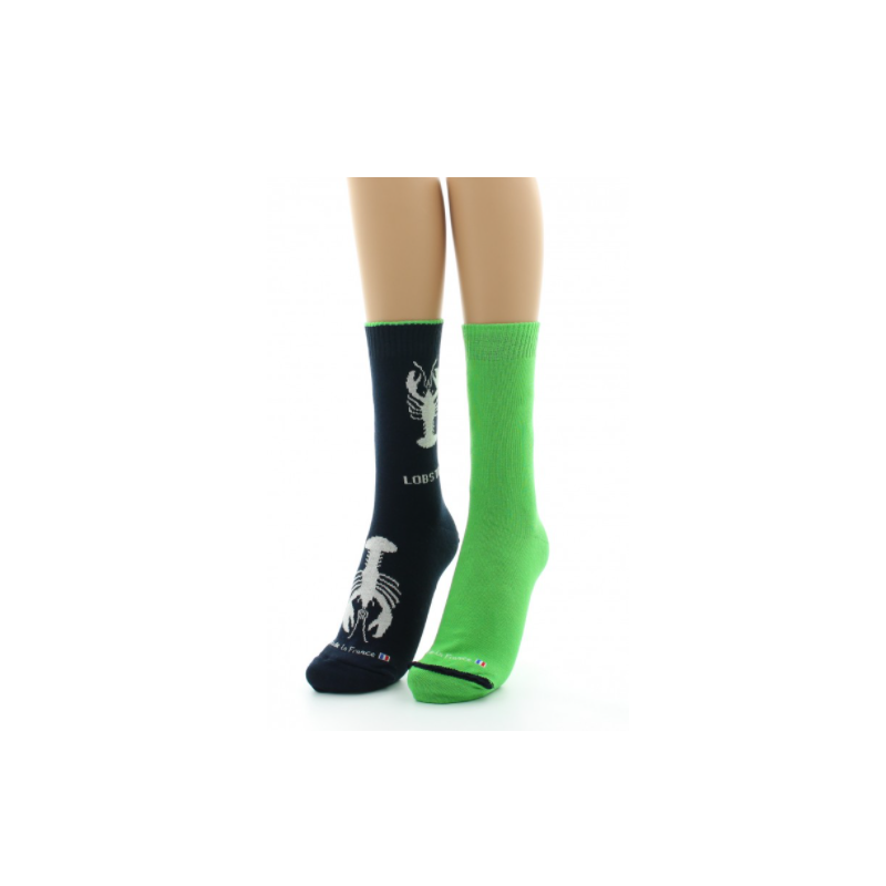 Dagobert reversible sock with green and blue turn-up