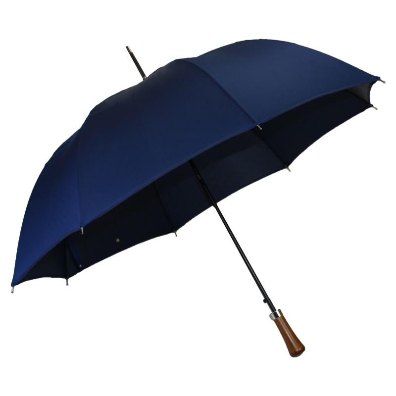 Parapluie automatique long jacquard bleu