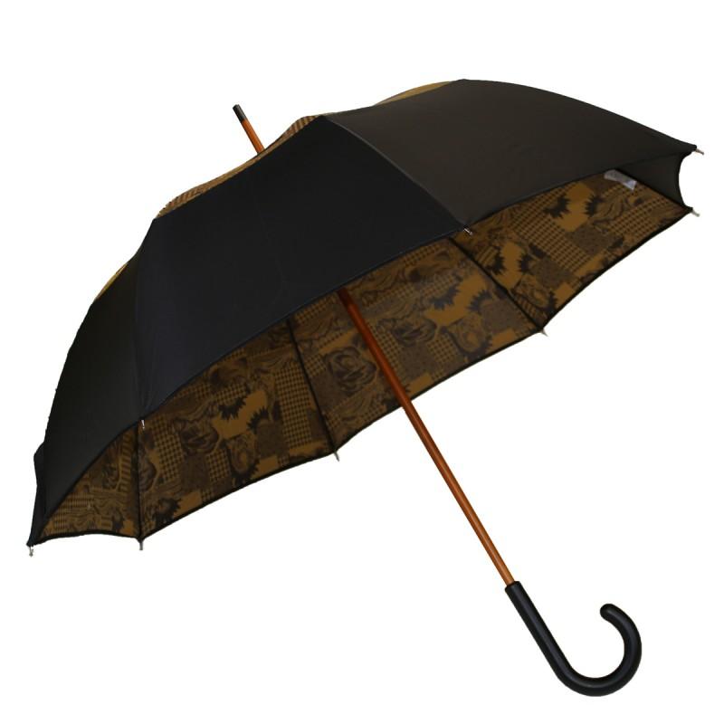 Langer Regenschirm mit schwarzem Versa-Ziel und goldenem rosa Druck