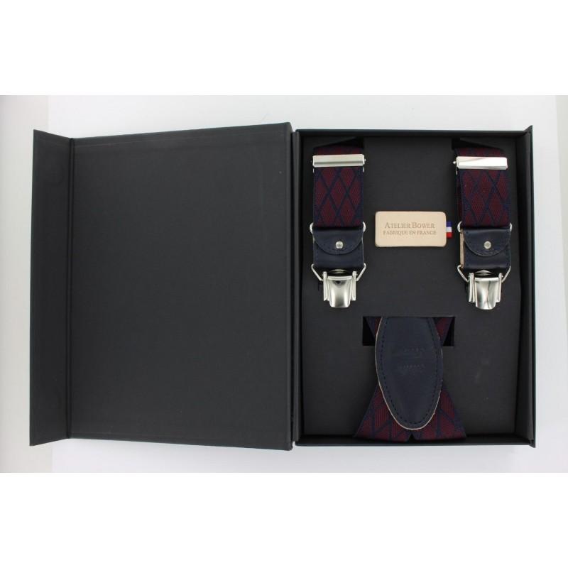 Burgundy straps with navy blue diamond pattern