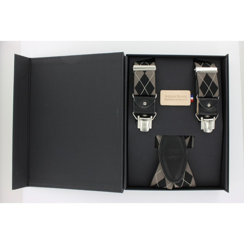 Black and taupe diamond pattern shoulder straps