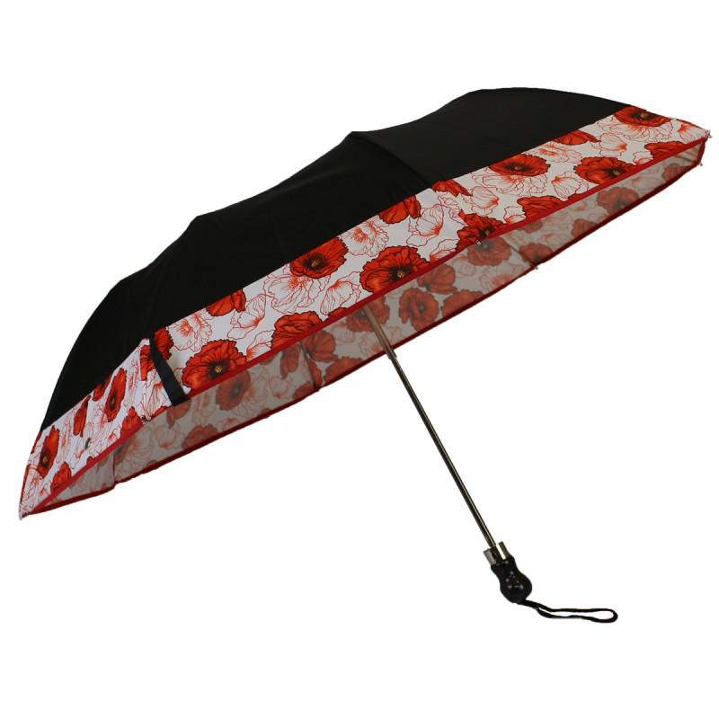 Black folding umbrella with poppy stripes