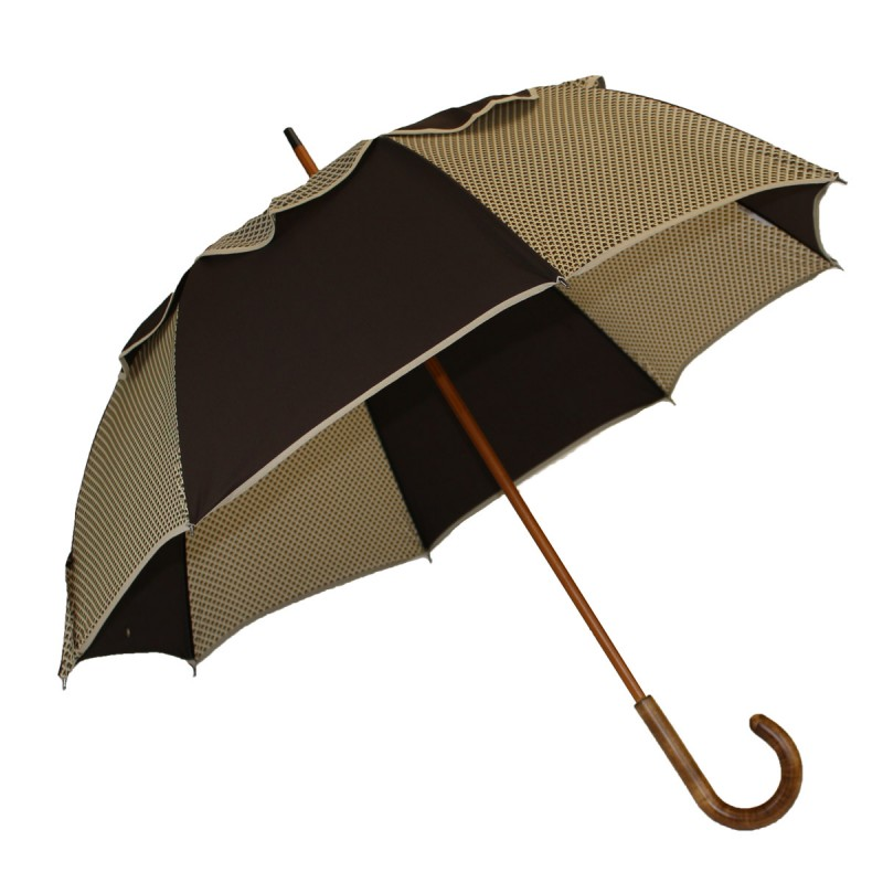 Parapluie Passvent marron et beige imprimé